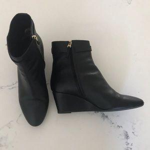 Fendi leather wedge booties